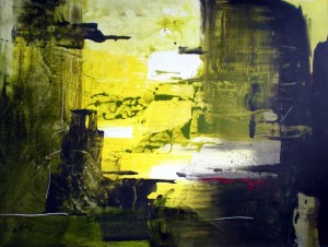 Abstract in Green and Micaceous Grey